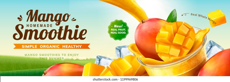 Mango smoothie banner ads with splashing beverage pouring into take out cup in 3d illustration on bokeh nature background