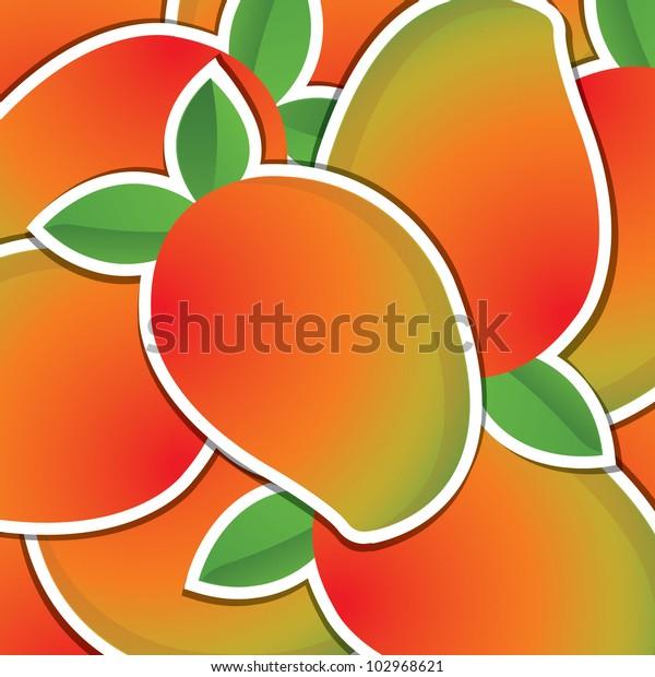 Mango sticker background/card in vector format.