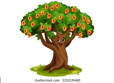 Mango tree of alphabets cartoon vector illustration