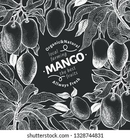 Mango tree vintage design template. Botanical mango fruit frame. Engraved mango. Retro illustration on chalk board
