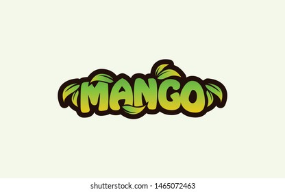 Mango word mark logo with green color