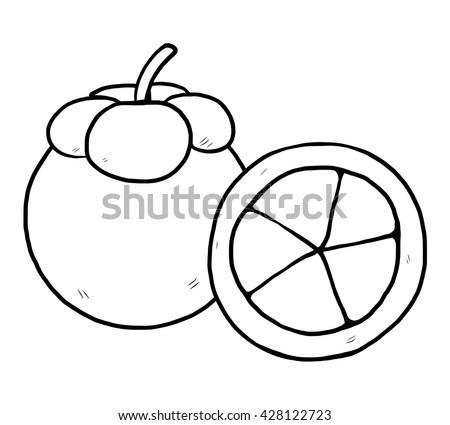 Mangosteen Cartoon Vector Illustration Black White Stock Vector