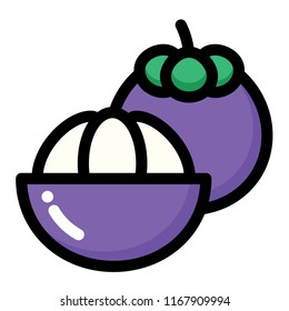 Mangosteen and half mangosteen vector illustration in line color design