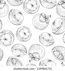 mangosteen vector seamless pattern purple