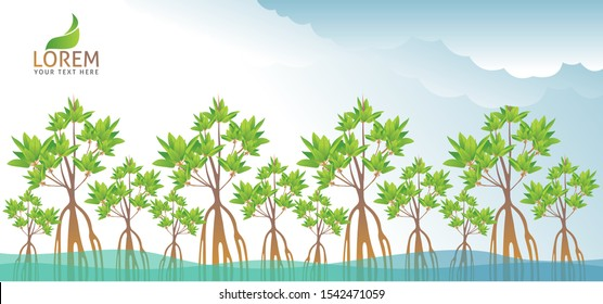 Mangrove Forest Background Vector EPS 10