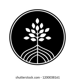 mangrove tree icon, black and white