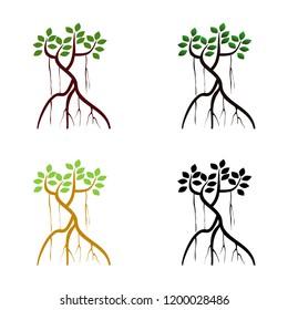 mangrove tree icon set