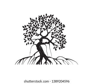 mangrove tree vector silhouette, black and white colors