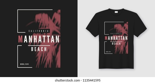 Manhattan beach t-shirt and apparel trendy design with styled palm tree silhouette, typography, poster, print, vector illustration. Global swatches.