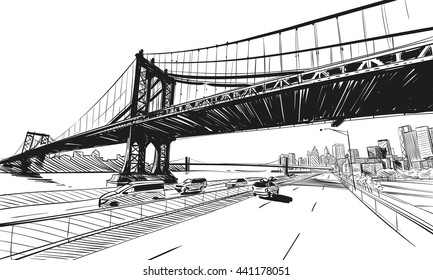 Manhattan bridge hand drawn industrial illustration. New York city vector sketch