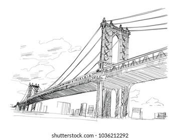 Manhattan Bridge, Hand drawn. Vector illustration.