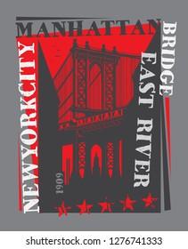 Manhattan bridge, New York city, silhouette illustration in flat design, t-shirt print design or poster, vector illustration