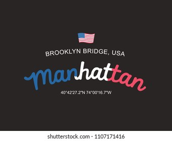Manhattan brooklyn bridge, usa slogan