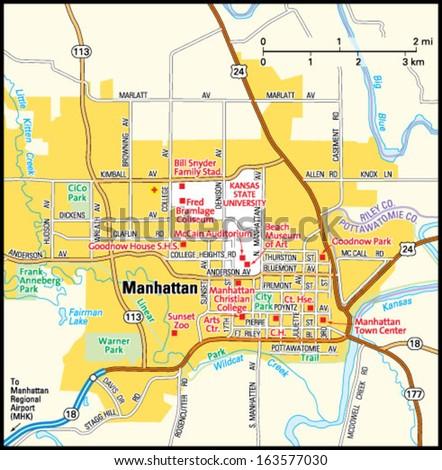 Map Of Manhattan Kansas.Manhattan Kansas Area Map Stock Vector Royalty Free 163577030