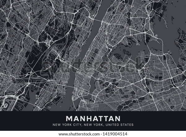 Manhattan map. Dark poster with map of Manhattan borough (New York, United States). Highly detailed map of Manhattan with water objects, roads, railways, etc. Printable poster.