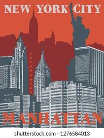 Manhattan, New York city, silhouette illustration in flat design, t-shirt print design or poster, vector illustration