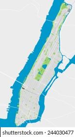 Manhattan New York detailed vector map