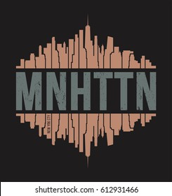 Manhattan New York tee print. T-shirt design graphics stamp label typography. Vector illustration.