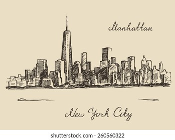 Manhattan New York United States of America, engraved vector illustration, hand drawn, sketch