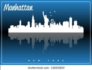 Manhattan, New York, USA skyline silhouette vector design on parliament blue background.