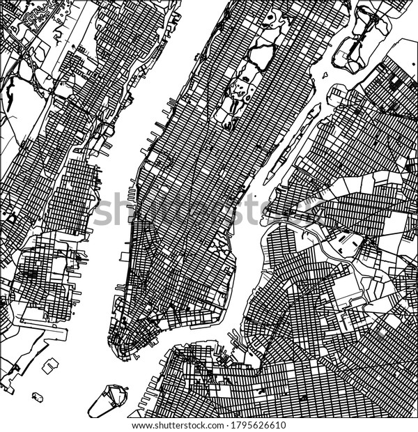 Manhattan nyc map lineart. Black and white hand drawn illustration. Icon sign for print and labelling.