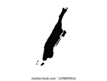 Manhattan outline map city borough shape