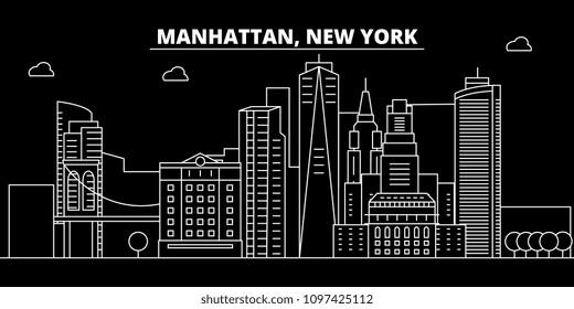 Manhattan silhouette skyline. USA - Manhattan vector city, american linear architecture, buildings. Manhattan travel illustration, outline landmarks. USA flat icon, american line banner