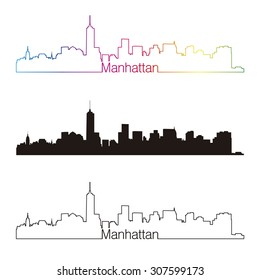 Manhattan skyline linear style with rainbow in editable vector file