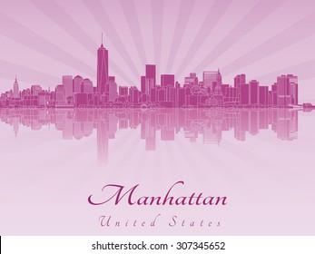 Manhattan skyline in purple radiant orchid in editable vector file