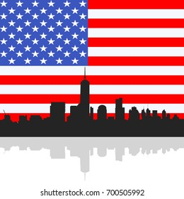 Manhattan skyline Silhouette on The United State of America flag background