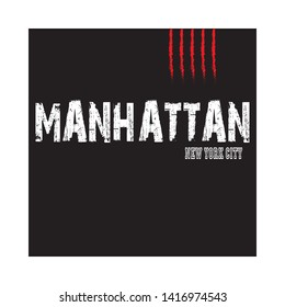 Manhattan -  Vector illustration design for banner, t shirt graphics, fashion prints, slogan tees, stickers, cards, posters and other creative uses