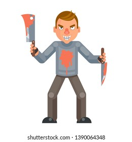 Maniac killer psychopath blood knife axe hand insane evil psycho cartoon character design flat isolated vector illustration