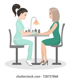 Manicure. Customer service in the beauty salon. Nail treatment, hand care. The girl is doing a manicure. Vector illustration