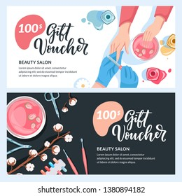 Manicure gift card, voucher, certificate or coupon vector design layout. Discount banner template for beauty salon and spa procedures.