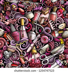 Manicure hand drawn doodles seamless pattern. Nails art background. Cartoon cosmetic fabric print design. Colorful vector illustration. All objects are separate.
