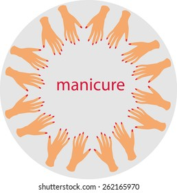 manicure hands nails vector