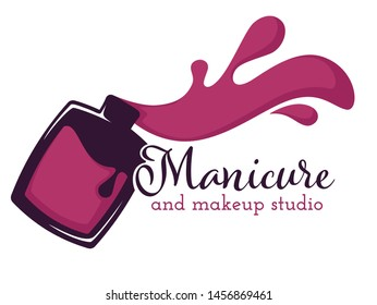 Manicure and makeup salon beauty nail and hand care isolated icon nail polish or varnish bottle and brush vector color splash pedicure skincare, fingernails and toenails spa procedures emblem or logo