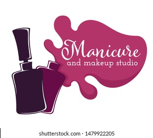 Manicure and makeup salon beauty nail and hand care isolated icon nail polish or varnish bottle and brush vector color splash pedicure, skincare fingernails and toenails spa procedures emblem or logo