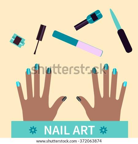 Manicure Nail Art Flat Illustration Procedure Stock Vector Royalty