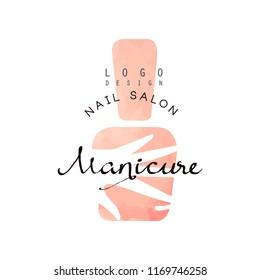 Manicure nail saloon logo, design element for nail bar, manicure studio, manicurist technician vector Illustration on a white background