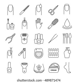 Manicure and pedicure linear icons set. Nail polish, scissors, epilator, spa bath, soap, cream, tweezers, foot rasp, cuticle nipper. Thin line contour symbols. Isolated vector illustrations