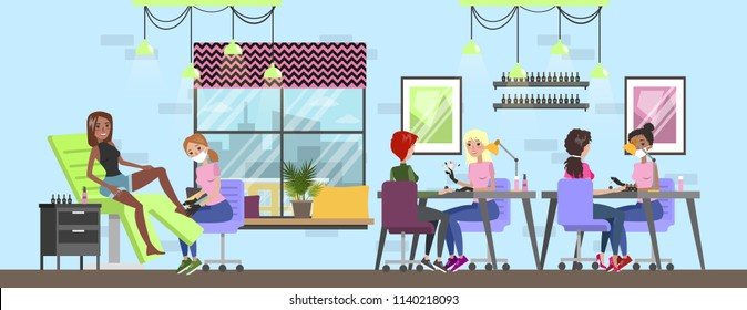 Manicure and pedicure salon interior. Woman sitting in the chairs and making professional manicure. Nail polish and painting. Beauty procedures. Vector flat illustration