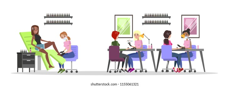 Manicure and pedicure salon interior. Woman sitting in the chairs and making professional manicure. Nail polish and painting. Beauty procedures. Isolated vector flat illustration