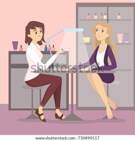 Manicure Salon Manicurist Doing Procedure Nail Stock Vector Royalty