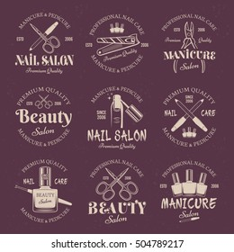 Manicure salon set of vector colored emblems, labels, badges and logos templates on purple background. Nail care and nails art studio or beauty salon