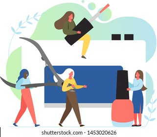 Manicure services, vector flat illustration. Big electric nail drill machine, scissors, nail polish and tiny women. Beauty salon, nail studio and hand care concept for web banner, website page etc.