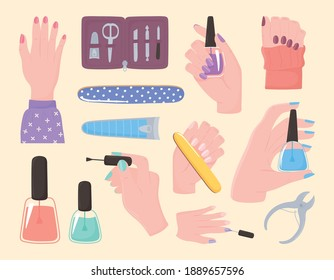 manicure, set icons hands nail polish cutter file kit tools and accessories vector illustration