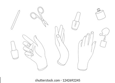 Manicure, tools, hands