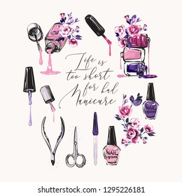 Manicure tools and lettering. Vector fashion illustrations with watercolor style paint splashes. Beautiful graphic on white background. Design for logo, t shirt and uniform beauty manicure salon