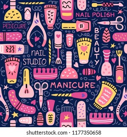 Manicure vector seamless pattern. Nail salon vector  logo. Manicure and pedicure studio. Fashion beauty banner for spa with nail polish or lacquer. Doodle illustration with nail manicure accessories.